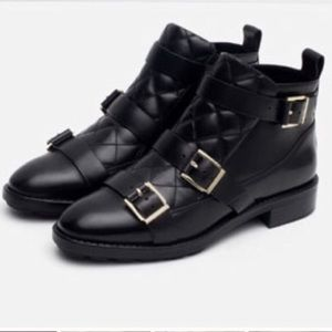 ZARA BUCKLE MOTO LEATHER QUILTED ANKLE BOOTS